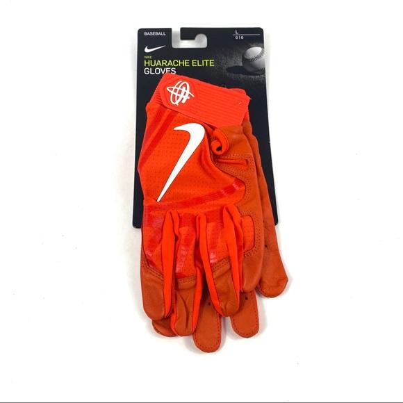 Nike Huarache Elite Orange Baseball Batting Gloves